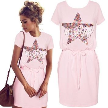 Pink Monogram Sequin Drawstring Short Sleeve Casual Mini Dress