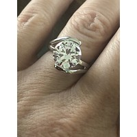 A Perfect 4CT Round Cut Russian Lab Diamond Tension Setting Ring