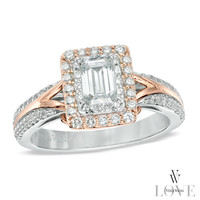 Vera Wang LOVE Collection 1 CT. T.W. Emerald-Cut Diamond Engagement Ring in 14K Two-Tone Gold