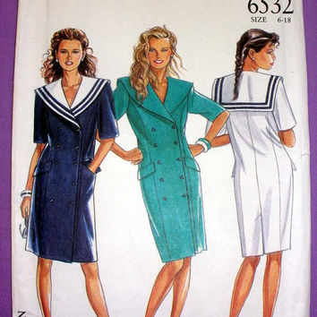 Women's Dress with Sailor Collar Misses' Size 6, 8, 10, 12, 14, 16, 18 New Look 6532 Sewing Pattern Uncut Vintage 1980's