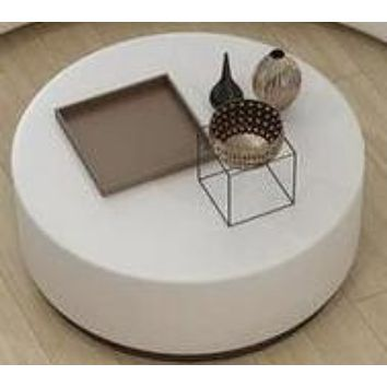 Round White Leather Coffee Table Contemporary.