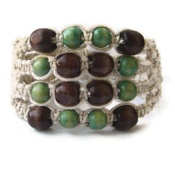 Macrame bracelet - beaded bracelet - earth colours