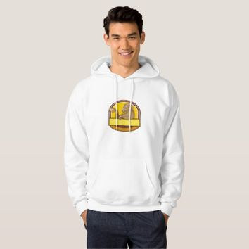Ram Goat Drinking Coffee Crest Drawing Hoodie
