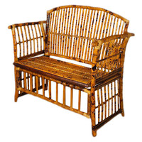 Emmeline Bamboo Bench, Tortoise, Entryway Bench