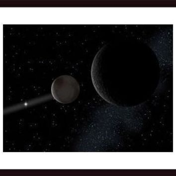 Pluto and it's moon Charon lie at the frontier of the solar system., framed black wood, white matte