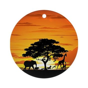 WILD ANIMALS ON AFRICAN SAVANNAH SUNSET ORNAMENT (