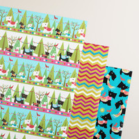 Scottie Chevron Wrapping Paper Roll, 3-Pack - World Market