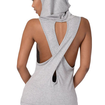 Grey Hooded Cross Back Vest Top