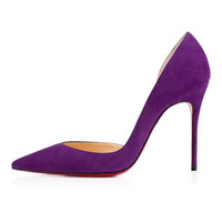 Amourplato Women's High Heel Fashion  Pointed Toe Purple Suede Pumps Shoes