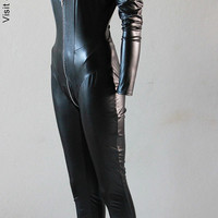 Catsuit Goth Gothic Biker Steampunk Catwoman Cosplay super Hero K-pop Leather ette Black Pvc - Chrisst - SPECIAL ETSY PRICE