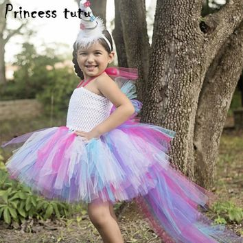 PRINCESS TUTU Dress Rainbow Little Pony Dress Cartoon Unicorn Costume For Kids Girls Dress Cosplay Halloween Party Dresses W058