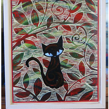 Kitty Gardener, Original Carved Wood Painting Emily The Strange Art by Buzz Parker Black Cats Kitty Secret Garden