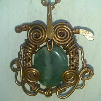 Green Agate Owl Wire Wrap