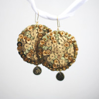 Om Earrings Gold Sequin embroidered felt zen
