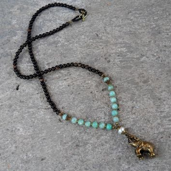 """Abundance"" 108 Bead Elephant Pendant Mala Necklace"
