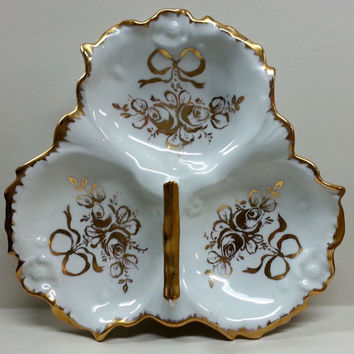 Vintage French Ceramic Gilded Rose Bow Floral Pattern Divided Candy Nut Dish Handled Bowl