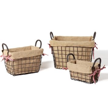 Set of 3 Iron and Burlap Baskets with Picnic Blanket Ties