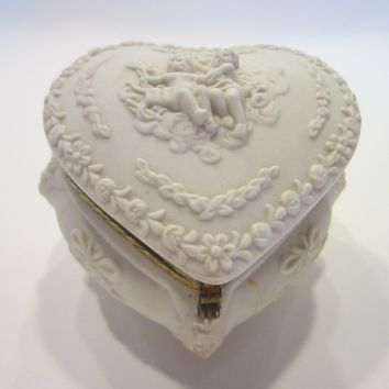 Majolica Figures Putti White Ceramic Heart Shape Box Brass Hardware