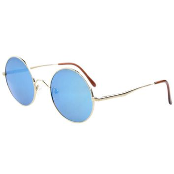 LS0007 Eyekepper Titanium Retro Round Large Frame Spring-hinged Polarized Sunglasses