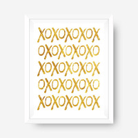 SPRING SALE gold foil print inspirational print wall art print - xoxo