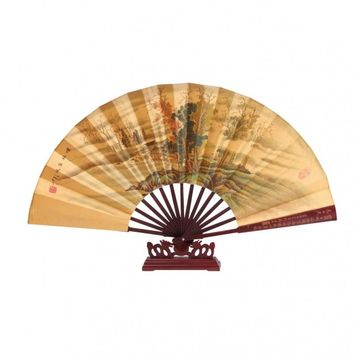 Chinese Silk Fan with stand - Landscape