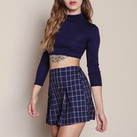 NAVY CAMEL SCHOOL PLEATED PLAID SKIRT