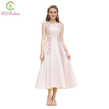 Elegant Banquet Pink Satin Cocktail Dress Sweet Appliques Tea-length Party Gown Formal Dresses Robe De Soiree