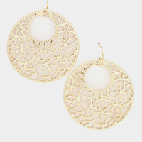 Round Flowers Cut Dangle Earring - Gold