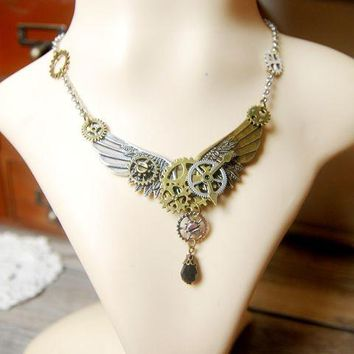 Handmade Steampunk Gears Angel Wings DIY Steampunk Necklace Vintage Fashion Jewelry Cospllay Halloween Accessories