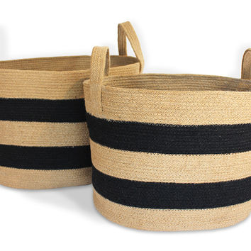 JUT005-NBLK: Oval Nesting Tote Baskets with loop Handle (Set of 2)