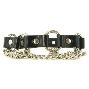 Chained Leather Segment Collar in L/XL