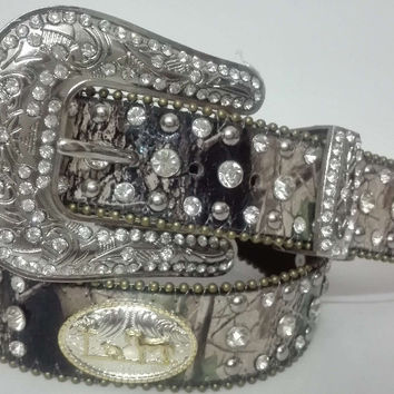 Western Camouflage horse mourn golden and silver conchos Leather Rhinestone clear Crystal Camo womens Belt