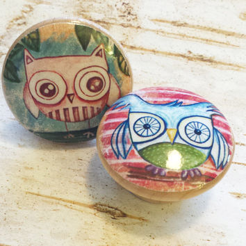 Woodland Handmade Knobs Drawer Pulls, Kitsch Owl 2 Knob Set, Owl Dresser Knobs, Cabinet Knobs, Nursery Knobs, Kids Room, Made To Order