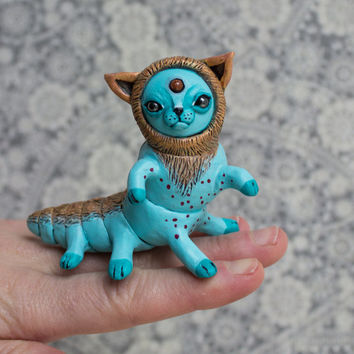 CATerpillar Fantasy figurine Ooak fantasy cat creature Polymer clay cat figurine Collectible miniature Fantasy creature Teal Gold fairy