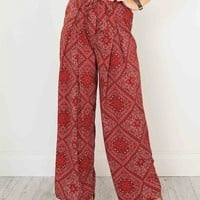 Red Geo-tribal Print Tie Waist Wide Leg Palazzo Pants