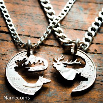 Elk Couples necklaces, His and Her matching Jewelry, Hand cut coin