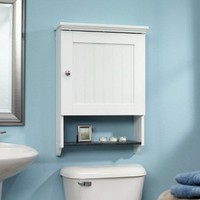 Bathroom Wall Cabinet in White Wood Finish with Display Shelf