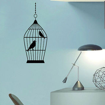 WALL DECAL VINYL STICKER ANIMAL BIRD CAGE BIRDCAGE DECOR SB570