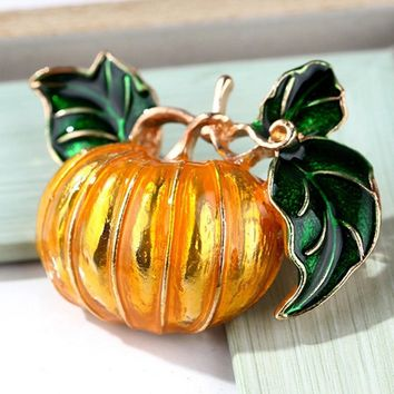 Vegetable Pumpkin Brooches For Women Female Gold Color Metal Costume Lapel Large Enamel Pin Brooch Jewelry