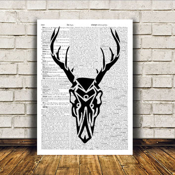 Wall decor Deer art Dictionary print Stag poster RTA150