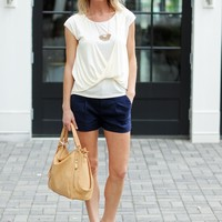 Cute Twist Front Top - Cream - $55.00 | Hand In Pocket Boutique