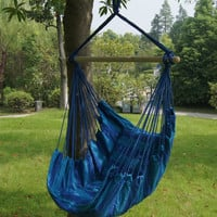 Bohemian Boho Cushioned Blue Hammock Hanging Chair