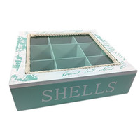 Decorative Shell Collecting Display Box - Aqua and White - 9-3/4-in