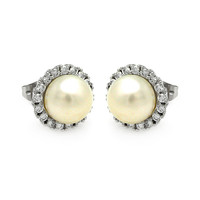 .925 Sterling Silver Center Pearl Stud Earring