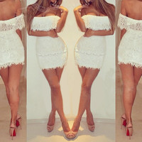White Lace dress Casual Party Women Off the Shoulder club dress Women's Sleeveless Tube Dress