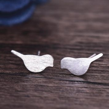Womens Silver Jewelry Fashion cute Tiny Bird Stud Earrings Gift for Girls Friend Kids Lady