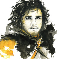 Jon Snow, Watercolor Fashion Illustration