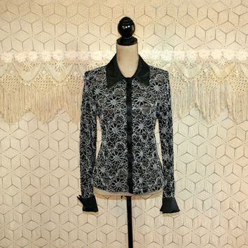 Lace Blouse Satin Collar Dressy Top Long Sleeve Shirt Button Up Blouse Small Medium Womens Shirts Lace Top Black White Womens Clothing