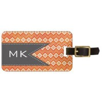Ikat Weaves Trendy Print Orange Luggage Tags from Zazzle.com