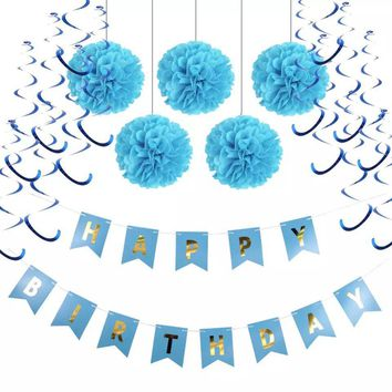 Baby Boy First Birthday Decoration Set-Boy's Cake Smash, Blue Happy Birhday Banner, Blue Birthday Party, Boy's Birthday, Blue Tissue Poms